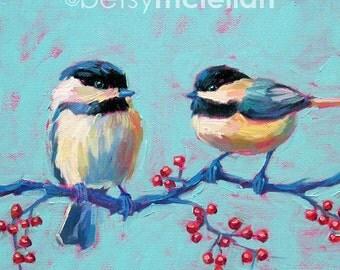 Chickadees - Bird Art - Paper - Canvas - Wood Block - Giclee Print