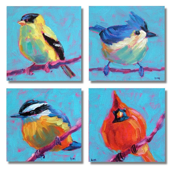 birds bird art bird art grouping original painting 4