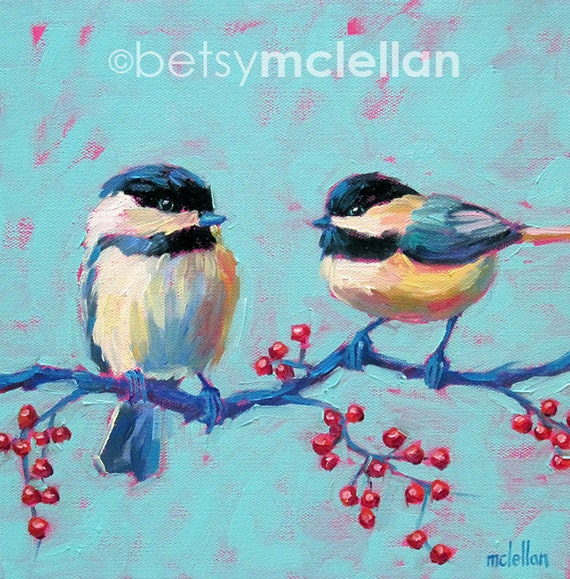 Chickadees - Bird Art - Paper - Canvas - Wood Block - Giclee Print