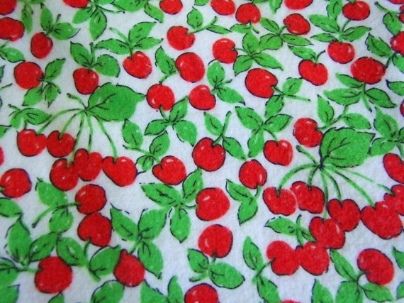 2 yards cherry flannel fabric - shipping included