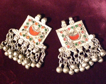 Vintage Amazing Pair Of AFGHAN Tribal Ornament/Pendants with Glass And Bells