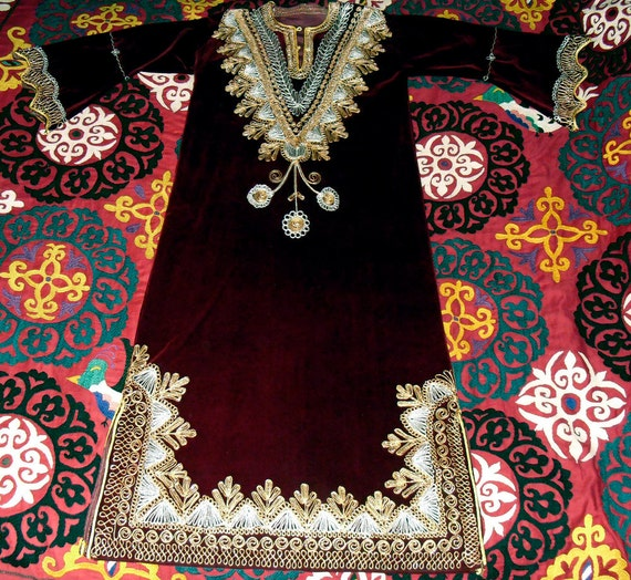 Vintage Moroccan Embroidered Full Length Kaftan Gold and Silver on Burgundy Velvet