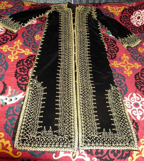 Vintage 70s Moroccan Embroidered Full Length Kaftan Coat Dress Black Velvet and Gold Braid work