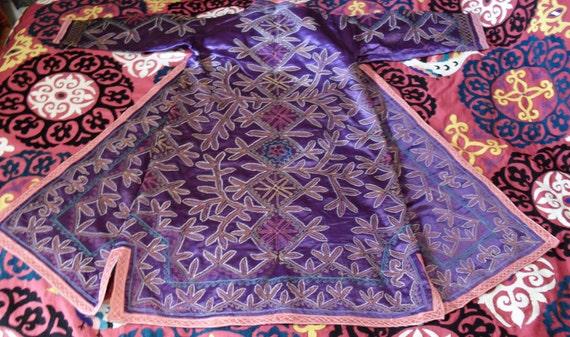 VINTAGE Fully Embroidered UZBEK Kaftan Coat-Purple sz Small