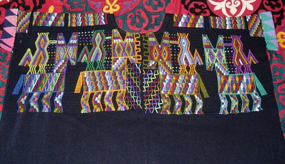 Vintage Guatemalan Nebaj Hand Loomed Hand Embroidered Huipil Colorful Birds and Mules on Black Cotton