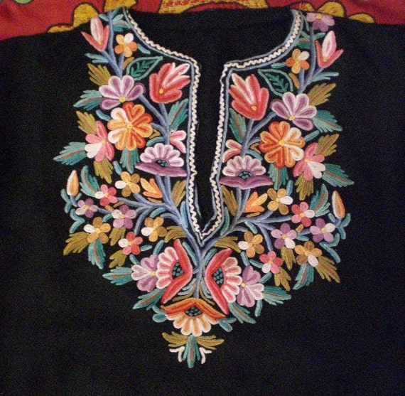 Kashmiri chain stitch embroidered kaftan by becocooned on etsy