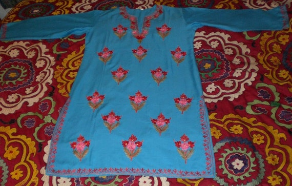 Vintage indian kashmiri chain stitch crewel by becocooned