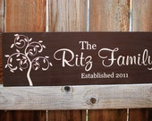 Painted Custom Family Name Wood Sign with Modern Swirly Tree & Wedding Date - ETS-106