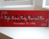 Established Custom Wood Sign with Family Names and Wedding Date with Swirls - Great Gift Idea - Item Number ETS-115
