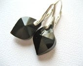 Prism Cut Black Glass Earrings Handmade Sterling Silver Leverback Faceted Czech Glass - Midnight Rendezvous