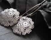 Lace Filigree Sterling Silver Earrings - Simple Modern Design by CuteJewels in Chicago