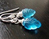 Quartz Leaf Earrings wire wrapped sterling silver