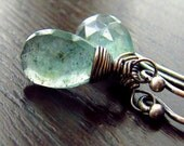 AAA Moss Aquamarine Sterling Silver Earrings Wire Wrapped, Semi precious stone, Sea Green
