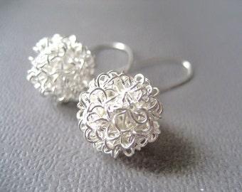 Bubbles Silver Ball Earrings European Design Sterling Silver