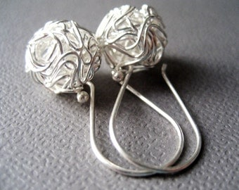 MIA3 Sterling Silver Earrings European design - short tangled ball drop