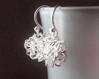 Dandelion Wire Ball Earrings Sterling Silver Earrings Wire Wrapped European Design - Modern Simple Dangle