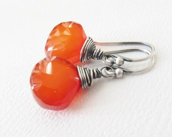 Chalcedony Earrings, Orange Earrings, Red Earrings, Fire Earrings, Wire wrapped earrings, sterling silver earrings, modern jewelry