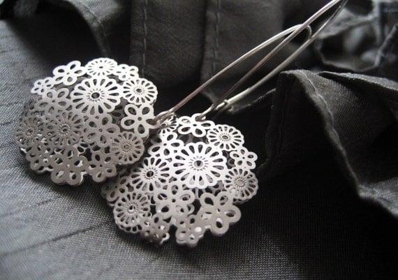 Flower Blossoms Sterling Silver Earrings - Elegant simple design