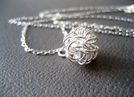 Modern Dandelion Sterling Silver Necklace Handmade - Simple elegant wire ball - Handmade by CuteJewels