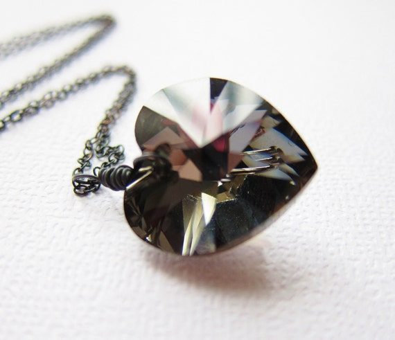 Reserved for Jennifer   Heart Jewelry Black Night Swarovski Crystal Heart Necklace Sterling Silver Oxidized Wire Wrapped