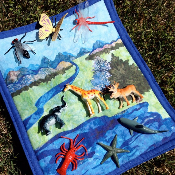 Air, Land, and Water Categorization Quilt WITH 9 Accompanying Animals - A Fabric Educational Material
