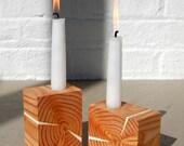 2 JOYCE - Decorative Wood Candle Holders