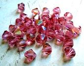 30 Rose Pink Vintage Swarovski Crystal Bicone Beads Faceted 8mm, Iridescent Faceted Pink Swarovski Bicone Beads