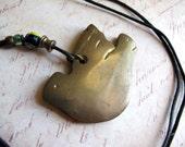 Vintage Brass Bird Cord Necklace