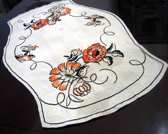 Hand Embroidered Vintage Linen Table Mat, Vintage Embroidered Textile, Orange Cream Black Fall Autumn Shabby Chic Flower Embroidered Textile
