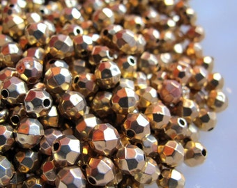 Shiny Gold Plastic Faceted Beads 6MM Lot of 50