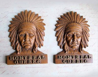 Vintage 1980s Montreal Quebec Souvenir Native Indian Headdress Faux Wood Pair of Heads, Canada Native North American Heads for RePurposing