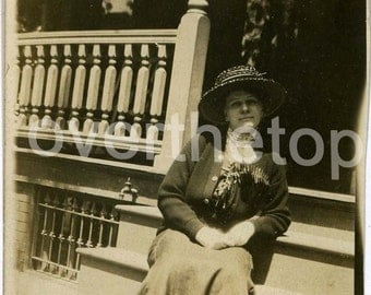 Vintage Photograph Early 20th Century Woman on Porch Steps