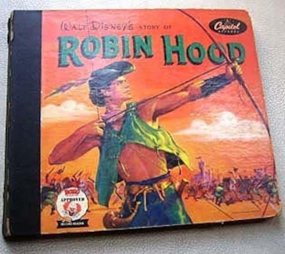 1952 Robin Hood Vintage Story Book Record Reader, Robin Hood Book Cover, 1950s Robin Hood Illustration