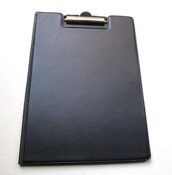 Vintage Black Vinyl Letter Sized Clipboard Folder Notebook