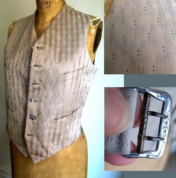 25% OFF Vintage Waistcoat Vest Celery Striped Cotton Sateen