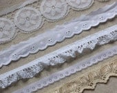 7 yards of Vintage  Lace Trim  - Cream and White