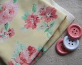 Pale Yellow Rose Print Cotton Fabric