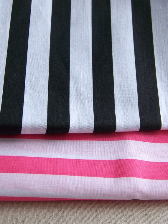 Stripy Sweet Set - Black and Pink Striped Fabric