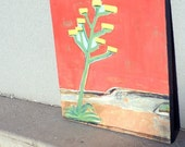 S U N S E T blooming agave painting on wood