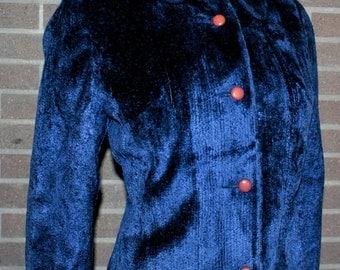 BETTY ROSE Designer Vintage 50's 60's Brilliant Rich Midnight Blue Velveteen Wiggle Suit so Mad Men