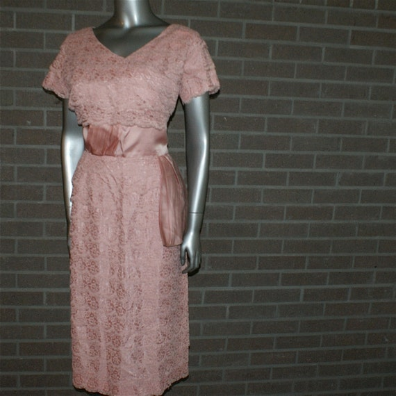 Dubarry Vintage 50's Dusty Pink Tiered Illusion Lace Cocktail Dress with Satin Sash - Empire Waist- Shelf Bust-