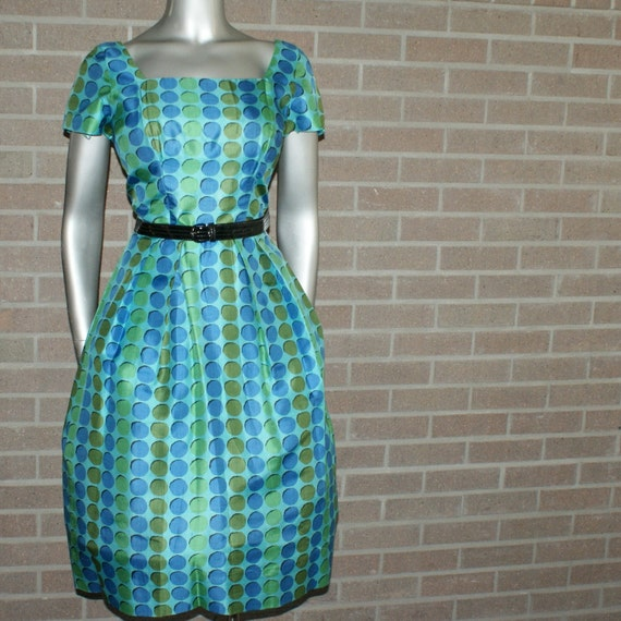 Vintage 50's Bombshell Cocktail Dress with Mid Century Opt Art Fabric Design Jr. Flair by Sportlane
