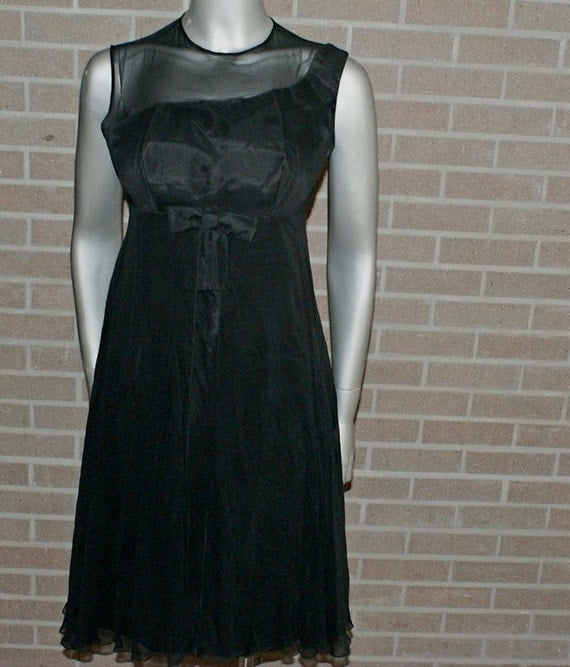 Vintage 60's Black Chiffon Trapeze Style Cocktail Wiggle Dress MAD MEN Style