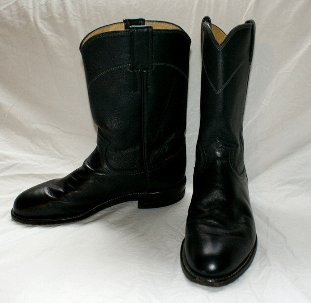vintage black leather justin roper boots by fancypantsvintage