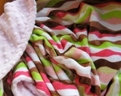 Stripes and Pink Minky Baby Blanket