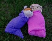 2 Gauze Doll's Swaddling Blankets- Custom Dyed