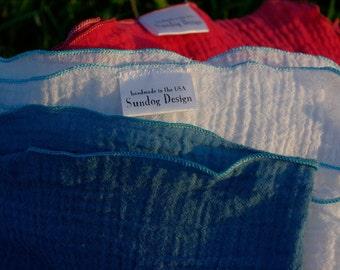 3 Cotton Gauze Swaddling Blankets - custom hand dyed