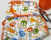 The Nifty Nappy in Orange Ooga Booga ORGANIC HEMP and BAMBOO