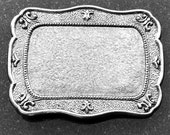 Belt Buckle Base, Vintage Silver Rectangle, Made in USA, BU103AS