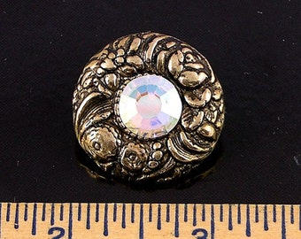 Vintage Gold and Swarovski Crystal Wreath Shank Button, 4 buttons